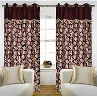 Deal Wala Pack Of 2 Geometric Design Maroon Eyelet Door Curtain - Vip272