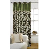 Deal Wala 1 Piece Of Geometric Design Green Color Eyelet Door Curtain -vip273
