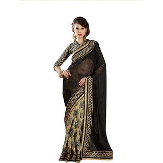 Bhavi Embellished Half Chiffon Half Cotton Silk Border Work Saree (BH1235)
