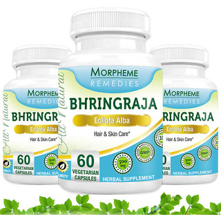 Morpheme Bhringraja Supplements For Hair Care - 500Mg Extract - 3 Combo Pack