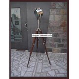 Electric Lamp Floor Searchlight With Wood Tripod Stand Brown Spotlight Lamp