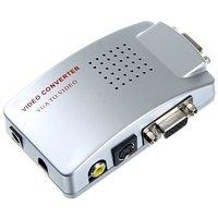 Pc Laptop Vga To Video Av Tv S-Video Box Conversion Converter Adapter Pal Ntsc
