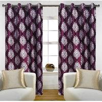 Deal Wala Pack Of 2 Mask Design Wine Color Door Curtain - Vip283