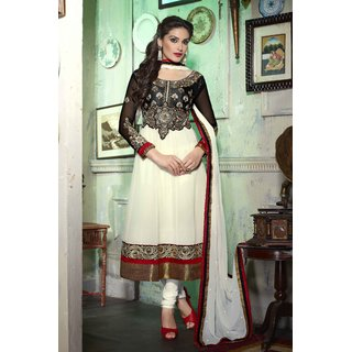 Faux Georgette white designer embroidery anarkali suit with dupatta (Unstitched)