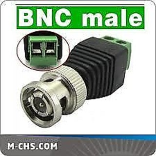 Set Of 5 Bnc Green Connector / Cctv Dvr Video Camera Bnc Plug Connector