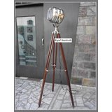 Designer's Spotlight Floor Lamp With Brown Tripod Stand Chrome Light Authentic
