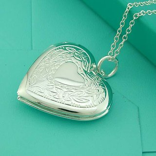 915 Silver Heart Pendant With Chain To Store Images As A Gift Got The Loved Ones