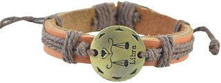 Unisexual Faux Leather Zodiac Libra Sunsign Tan Brown Threadwoven Bracelet (AFZDBRLBR)