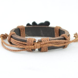 Tan Brown Thread-Woven Brown Strap Faux Leather Bracelet (AF_LB_CTM)