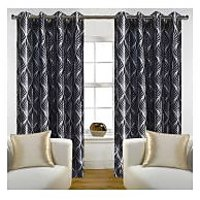 Deal Wala Pack Of 2 Trap Design Black Color Eyelet Door Curtain -vip296