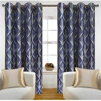 Deal Wala Pack Of 2 Trap Design Blue Eyelet Door Curtain -vip298