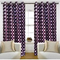 Deal Wala Pack Of 2 Dots Design Wine Color Door Curtain - Vip302