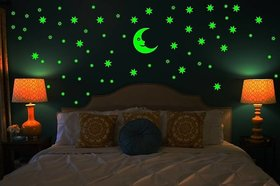 Night Stars wall sticker with Moon - Multicolor