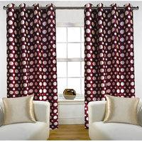 Deal Wala Pack Of 2 Dots Design Maroon Color Door Curtain - Vip305