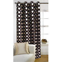 Deal Wala 1 Piece Of Dots Design Brown Color Door Curtain -vip307