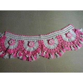 Decorative Woolen Door Toran Pink And White