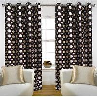 Deal Wala Pack Of 2 Dots Design Brown Color Eyelet Door Curtain - Vip308