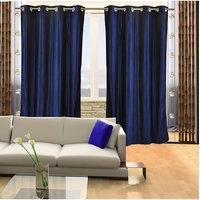 Deal Wala Pack Of 2 Silky Royal Blue Eyelet Door Curtain -vip313