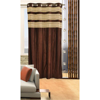 Deal Wala 1 Piece Of Double Tissue Brown Color Eyelet Door Curtain -vip325