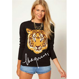 Full Sleeves Black Round You Neck T Shirt With Big Tiger Face Print