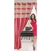 Deal Wala 1 Piece Of Double Tissue Dark Pink Eyelet Door Curtain - Vip329