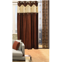 Deal Wala 1 Piece Of Single Tissue Brown Color Eyelet Door Curtain -vip337