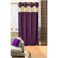 Deal Wala 1 Piece Of Single Tissue Purple Color Eyelet Door Curtain -vip339