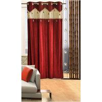 Deal Wala 1 Piece Of Single Tissue Maroon Color Eyelet Door Curtain -vip343