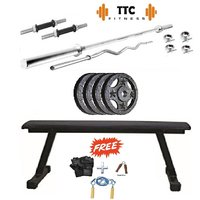Ttc Fitness Cast Iron Home Gym Combo 20 +flat Bench