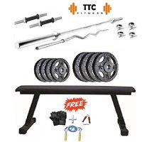 Ttc Fitness Cast Iron Home Gym Combo 30 +flat Bench