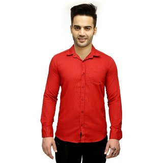 Creative Trend Slimfit Plain Mahroon Casual Poly-Cotton Shirt