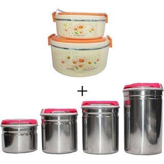 4 pieces steel jar with 2 pieces casserole set