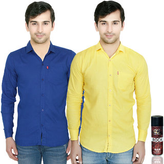 Knight Riders Slimfit Blue & Yellow Casual Poly-Cotton Shirt With MTV Double CrossRock Deodrant For Men