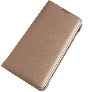 Samsung Galaxy J3 Premium Quality Golden Leather Flip Cover