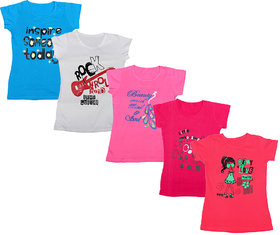IndiWeaves Girls Cotton Half Sleeves Round Neck Printed T-Shirts (Pack of 5)_Multiple_5-7 Year