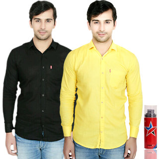 Knight Riders Slimfit Black & Yellow Casual Poly-Cotton Shirt With MTV Sportsta Deodrant For Men