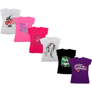 IndiWeaves Girls Cotton Half Sleeves Round Neck Printed T-Shirts (Pack of 6)_Multiple_5-7 Year