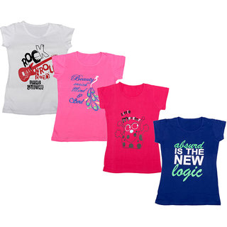IndiWeaves Girls Cotton Half Sleeves Round Neck Printed T-Shirts (Pack of 4)_Multiple_5-7 Year
