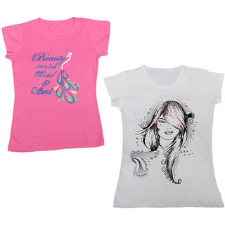 IndiWeaves Girls Cotton Half Sleeves Round Neck Printed T-Shirts (Pack of 2)_Multiple_5-7 Year