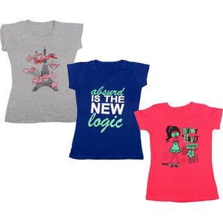 IndiWeaves Girls Cotton Half Sleeves Round Neck Printed T-Shirts (Pack of 3)_Multiple_5-7 Year