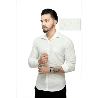 Creative Trend Slimfit White Dotted Poly-Cotton Shirts