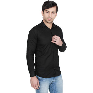 Knight Riders Mens Black Casual linen Shirt