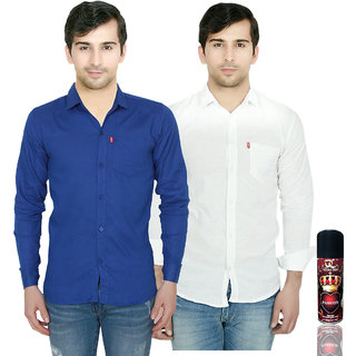 Knight Riders Slimfit Blue & White Casual Poly-Cotton Shirt With MTV Double CrossPassion Deodrant For Men