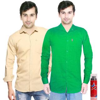 Knight Riders Slimfit Green & Cream Casual Poly-Cotton Shirt With MTV Sportsta Deodrant For Men