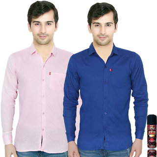 Knight Riders Slimfit Blue & Pink Casual Poly-Cotton Shirt With MTV Double CrossPassion Deodrant For Men