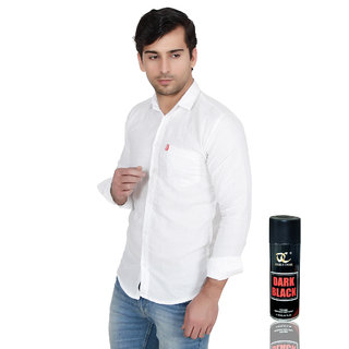 Knight Riders Slimfit White Casual Poly-Cotton Shirt With MTV Double CrossDark Black Deodorant For Men