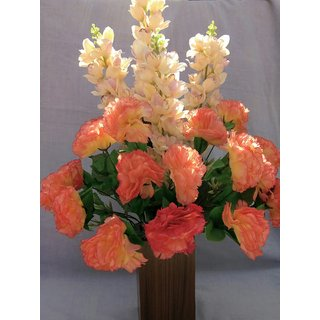 Carnation wild plant Artificial Plant with Wooden Pot