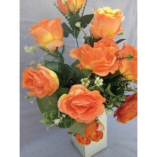 Imported Artificial Silk orange Rose Artificial arrangements with wooden pot