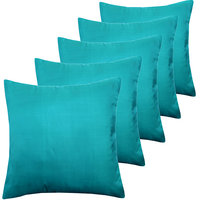 ANS Sea Green Solid Cushion Covers Set Of 5