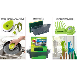 Combo of  3pc Scrub With Soap Capsule , Sink Corner And Suction Towel Hook